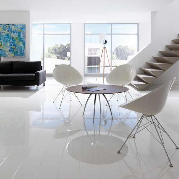 """Elesgo Laminat """"Hochglanz Color White"""" - Superglanz floor Diele"""
