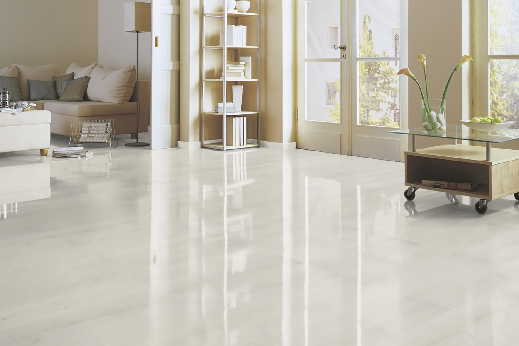 laminat hochglanz tal eiche wei shiny life glattkante. Black Bedroom Furniture Sets. Home Design Ideas